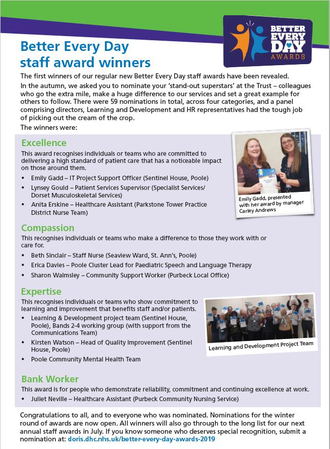 Dorset HealthCare :: Previous winners