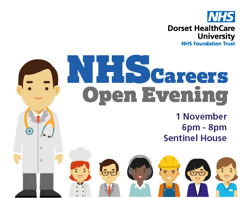 Mini poster - advertising for NHS jobs careers evening